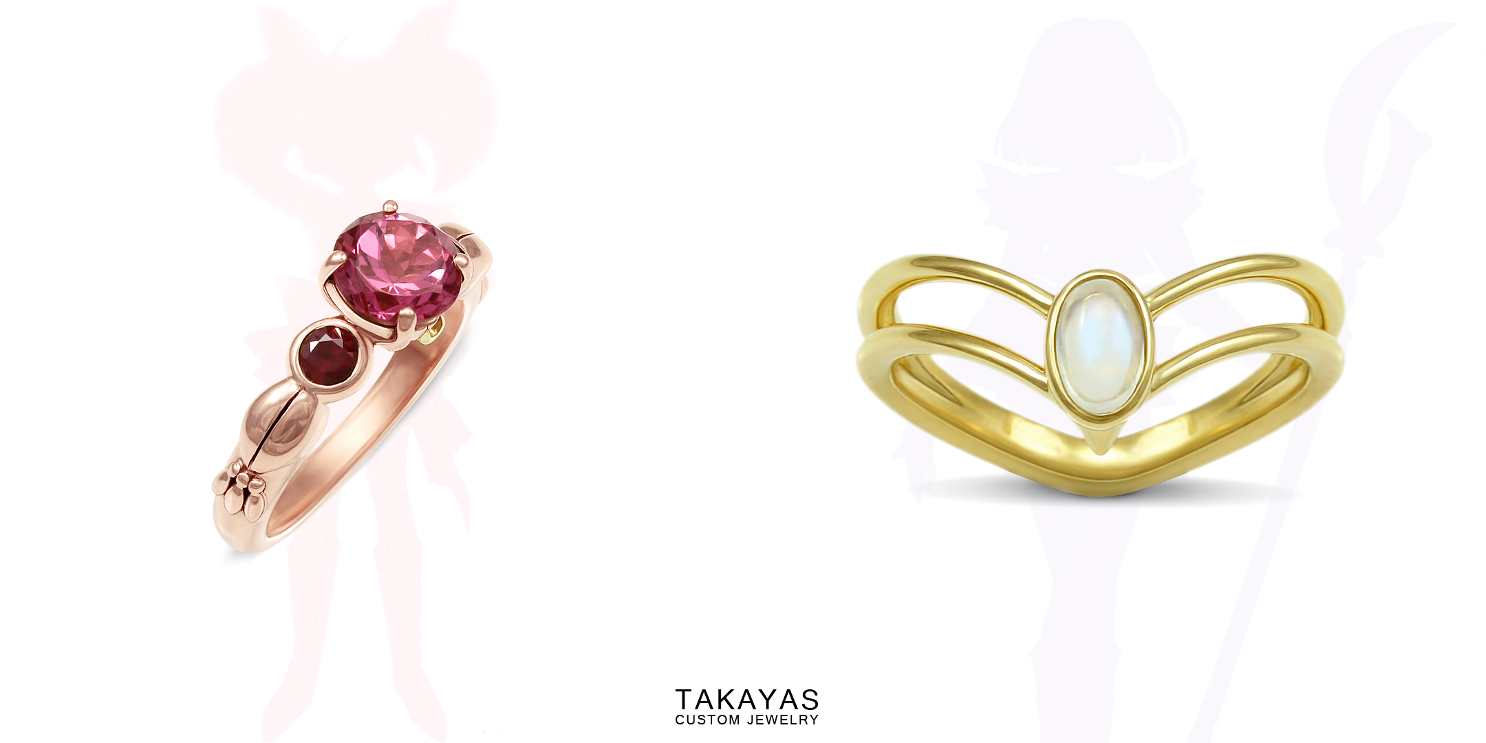 Custom Chibi Moon and Sailor Saturn engagement rings by Takayas Custom Jewelry