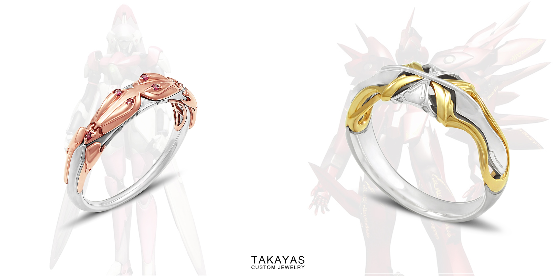 His and her Fei and Elly inspired mech wedding rings by Takayas Custom Jewelry