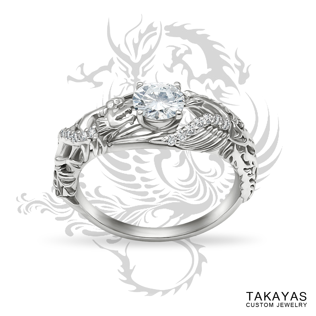 Dragon and Phoenix engagement ring designed by Takayas Custom Jewelry