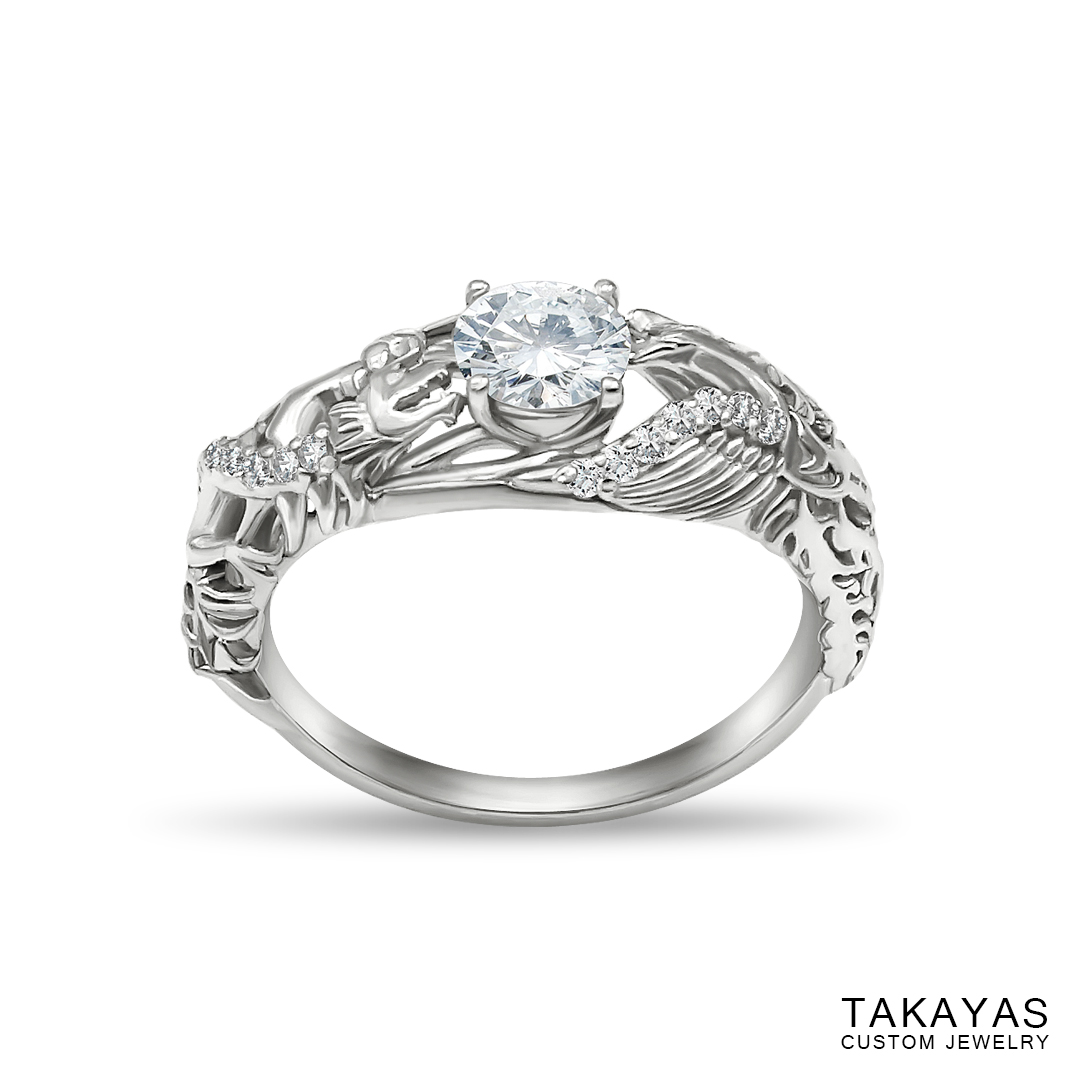 Lisa's Dragon Phoenix engagement ring by Takayas - angled top view