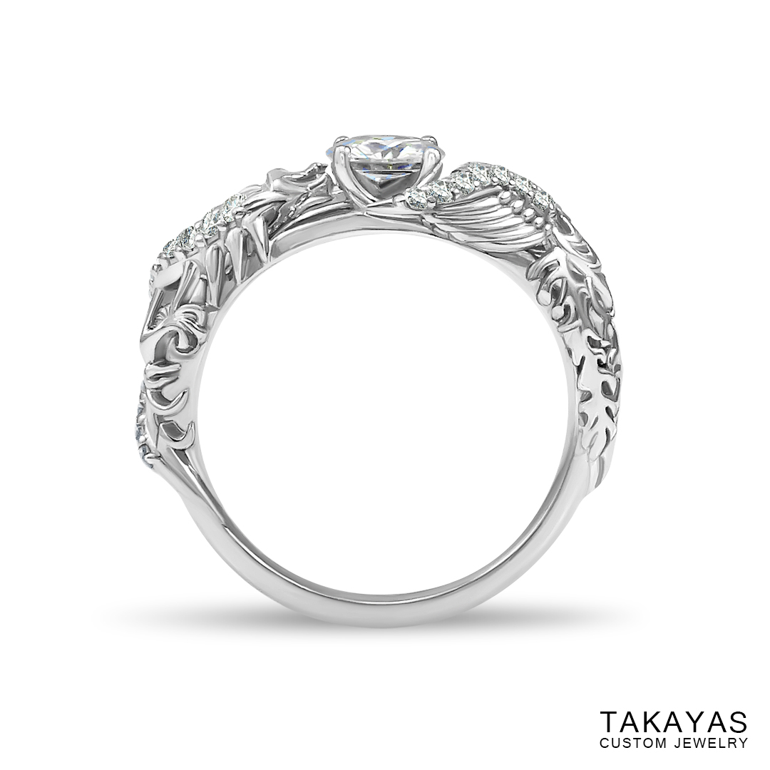 Lisa's Dragon Phoenix engagement ring by Takayas - front view