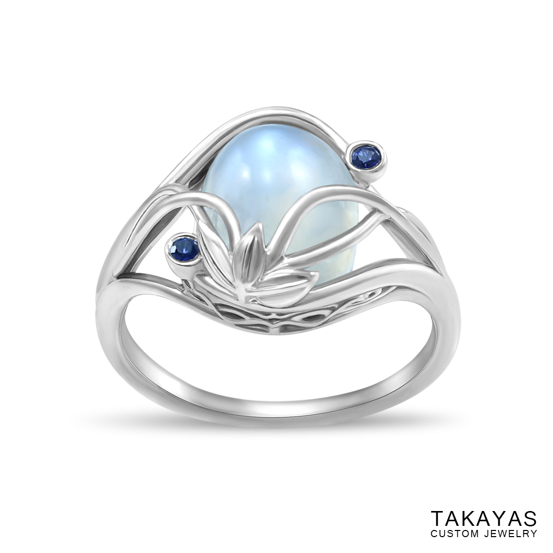 Elvish Moonstone Engagement Ring by Takayas - angled top down view