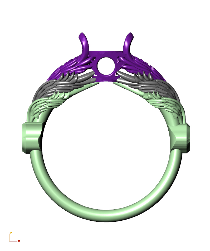 CAD rendering of Hraesvelgr inspired wings, with comet symbol in the center, by Takayas Custom Jewelry