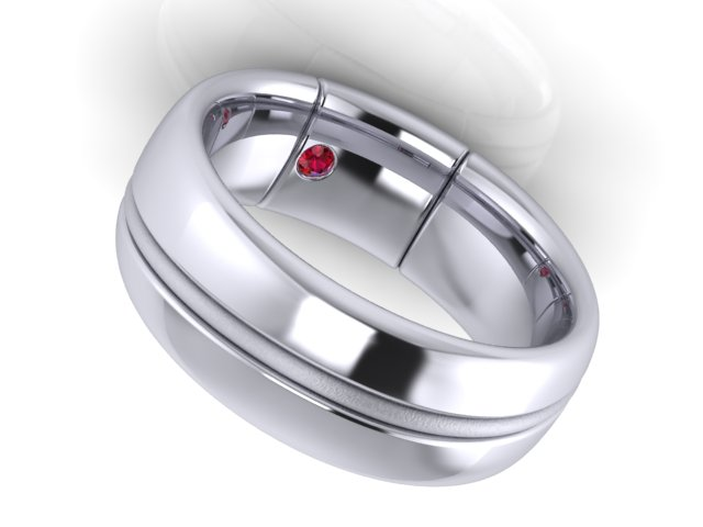 CAD rendering - inside view of Jeff's Red String of Fate wedding band by Takayas Custom Jewelry