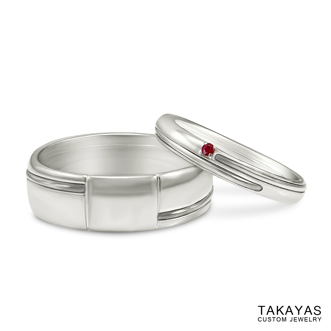 Red String of Fate wedding bands byt Takayas - front view