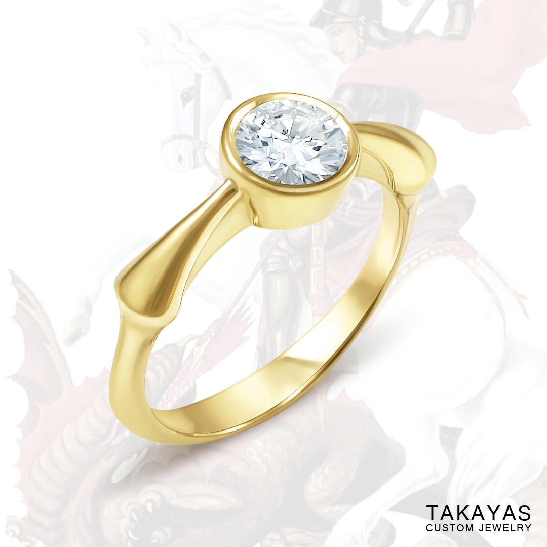 Takayas Custom Jewelry Sao Jorge inspired engagement ring
