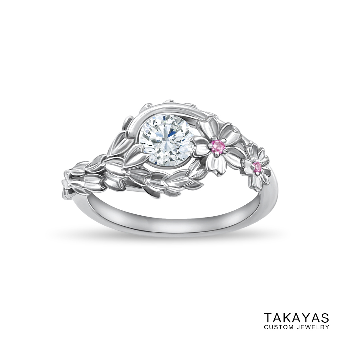 Japanese Cherry Blossom engagement ring by Takayas - angled top view
