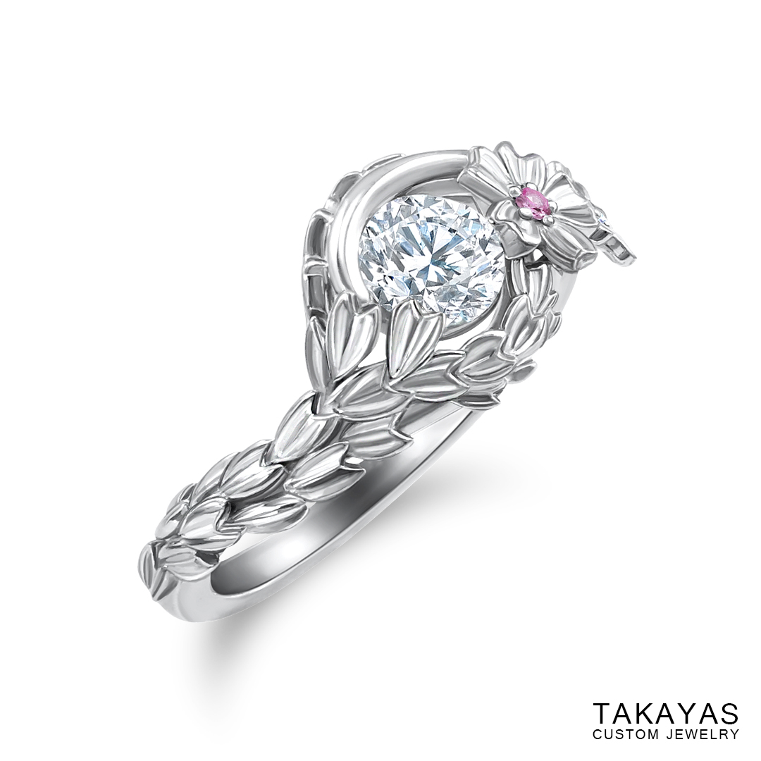 Japanese Cherry Blossom engagement ring by Takayas - angled side view 2