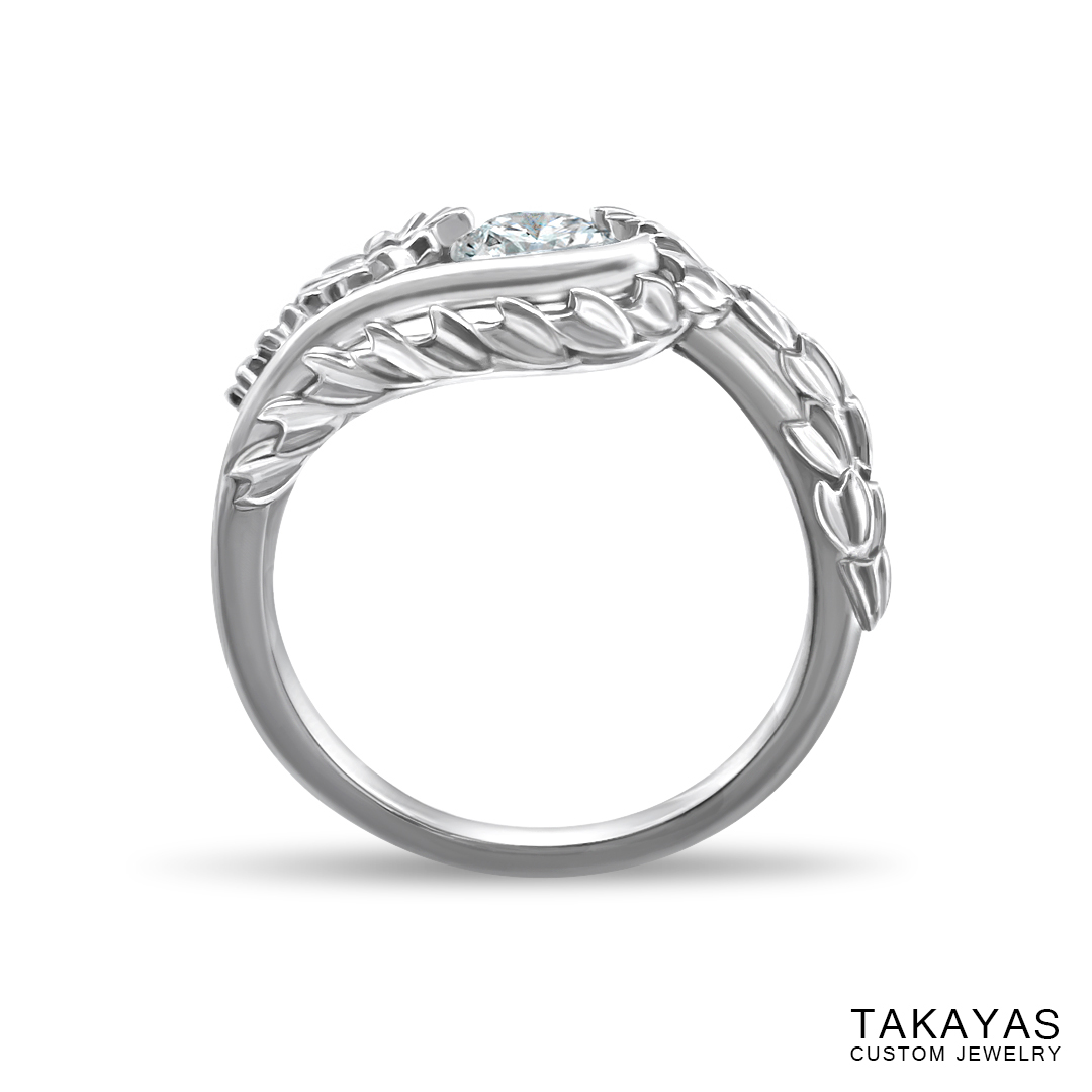 Japanese Cherry Blossom engagement ring by Takayas - back view