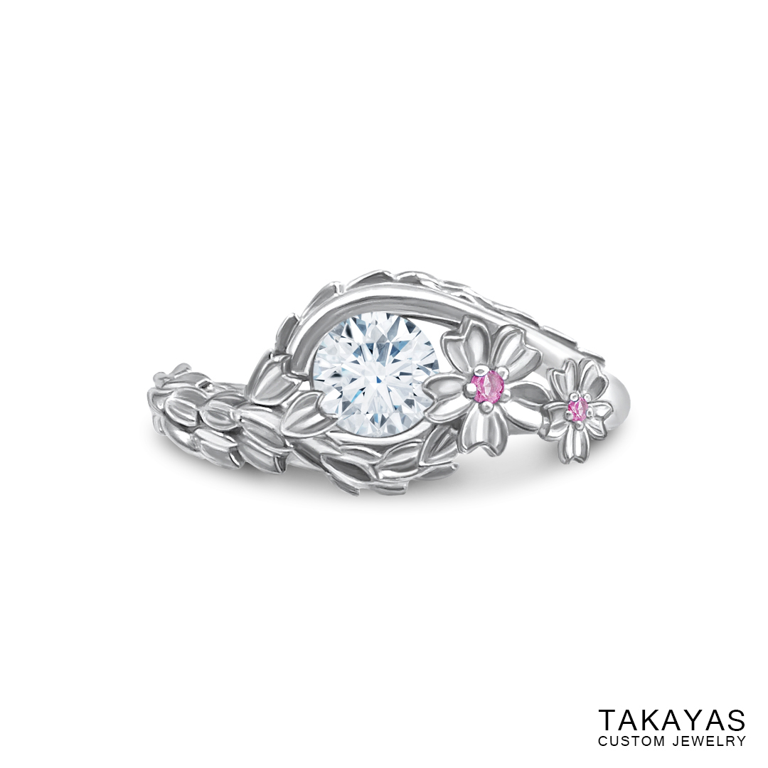 Japanese Cherry Blossom engagement ring by Takayas - top down view