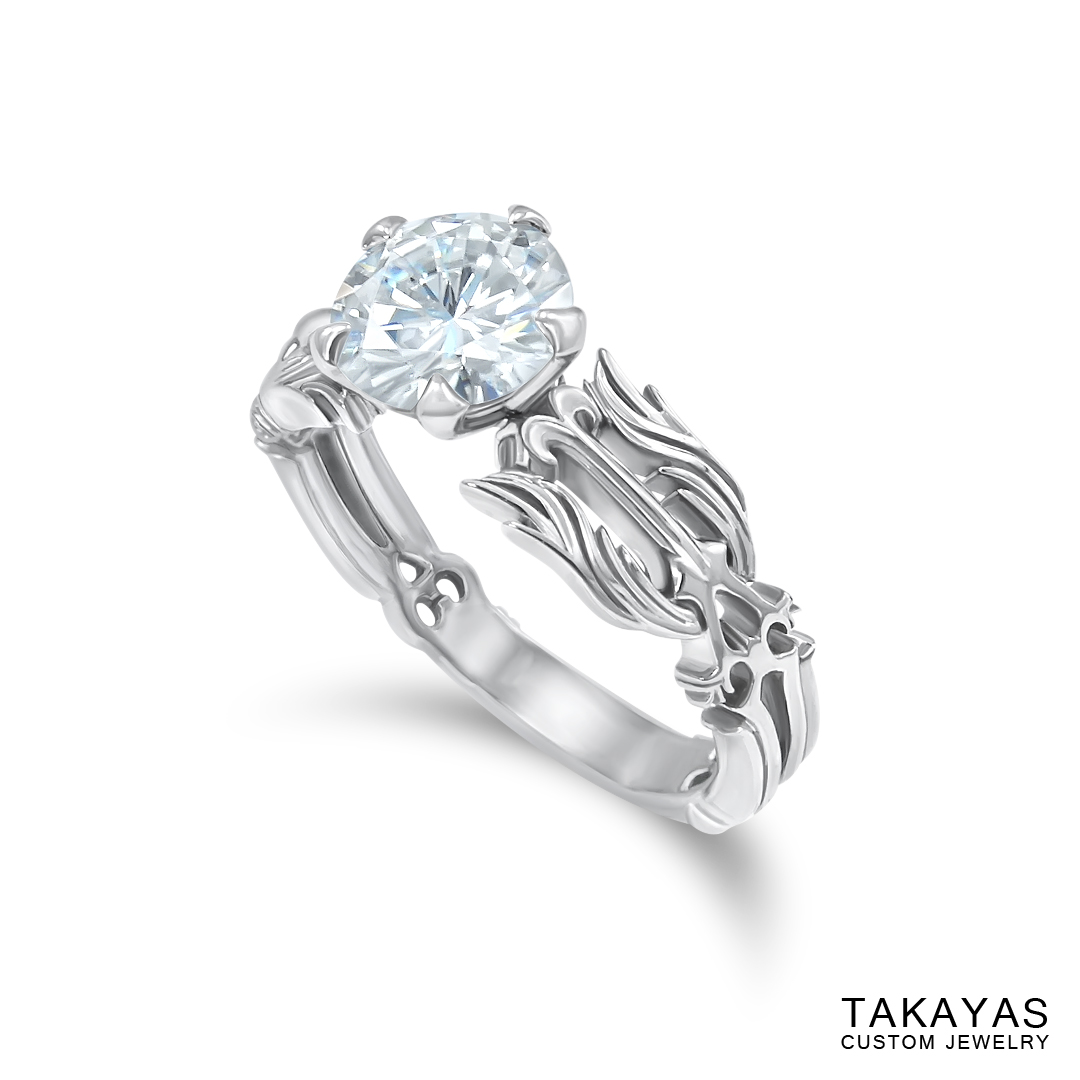 Angled side view Kingdom Hearts Oathkeeper & Wayfinder Engagement Ring by Takayas Custom Jewelry