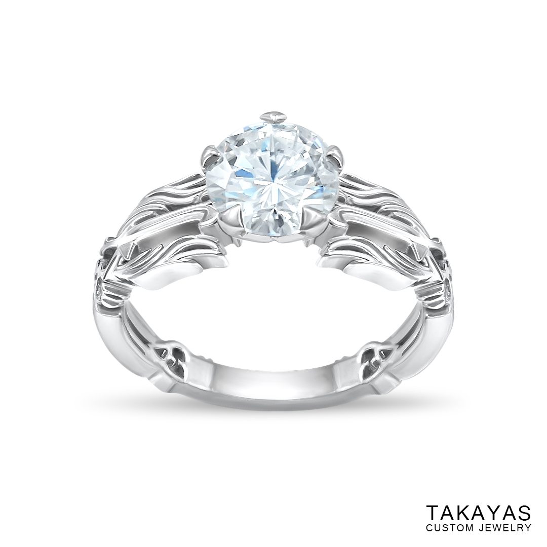 Angled top view Kingdom Hearts Oathkeeper & Wayfinder Engagement Ring by Takayas Custom Jewelry