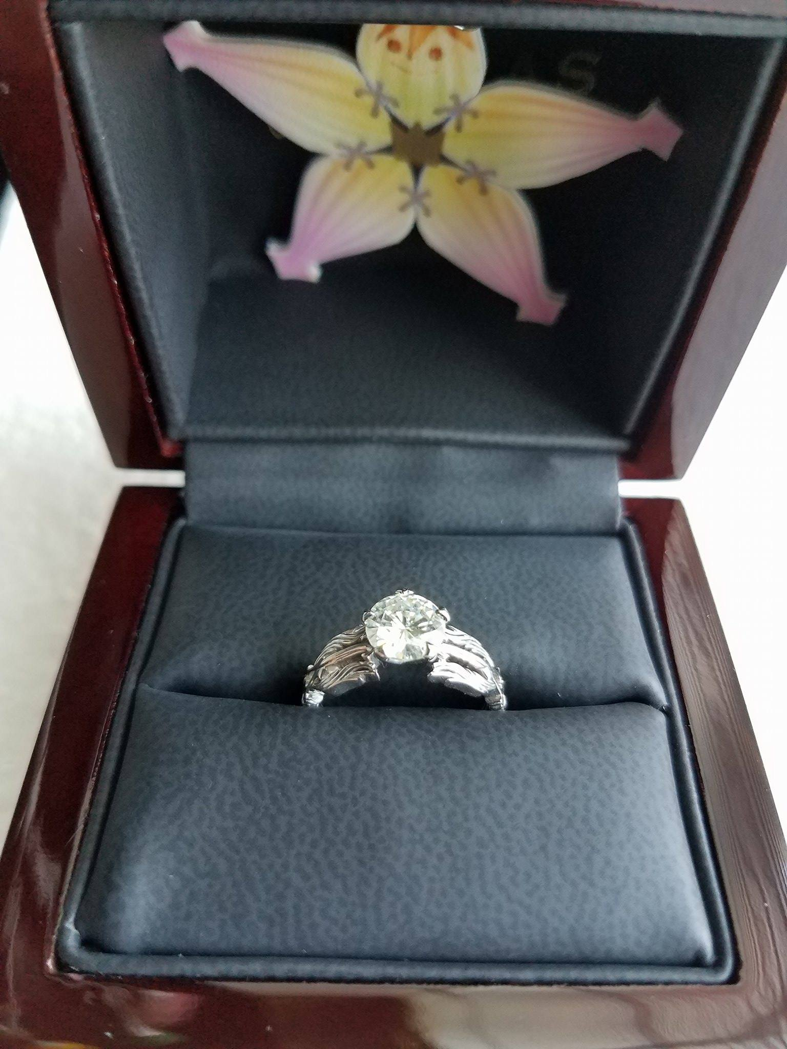 Kingdom Hearts Oathkeeper and Wayfinder solitaire engagement ring by Takayas Custom Jewelry, in ring box