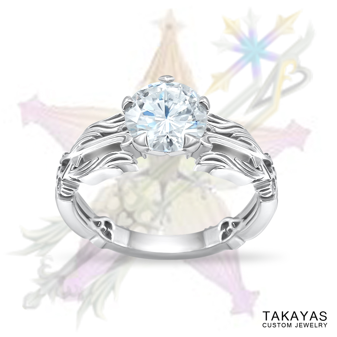 Kingdom Hearts Oathkeeper & Wayfinder Engagement Ring by Takayas with inspiration images in background
