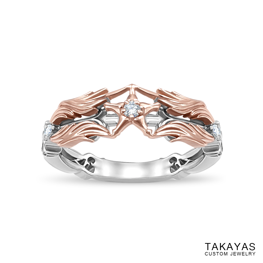 Kingdom Hearts Paopu Fruit Wedding Ring by Takayas angled top view of finished ring