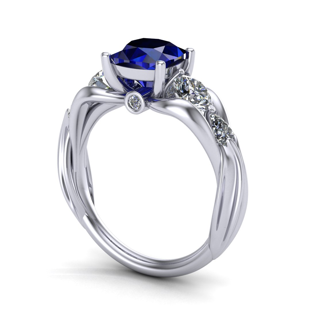 CAD rendering of FFXIV Carbuncle Engagement Ring by Takayas angled side view
