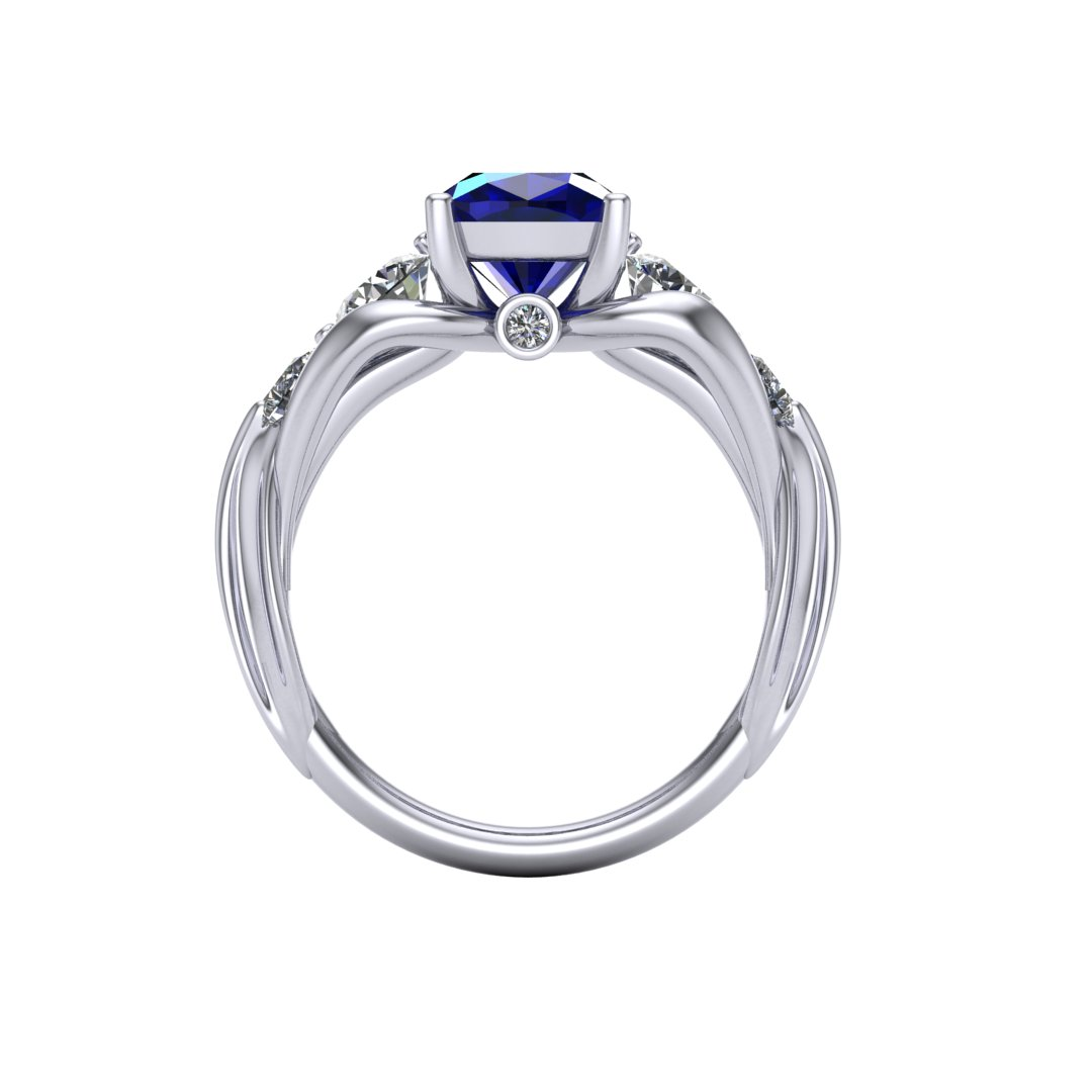 CAD rendering of FFXIV Carbuncle Engagement Ring by Takayas front view