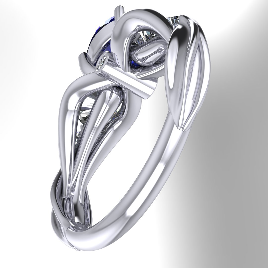 CAD rendering of FFXIV Carbuncle Engagement Ring by Takayas under-gallery view