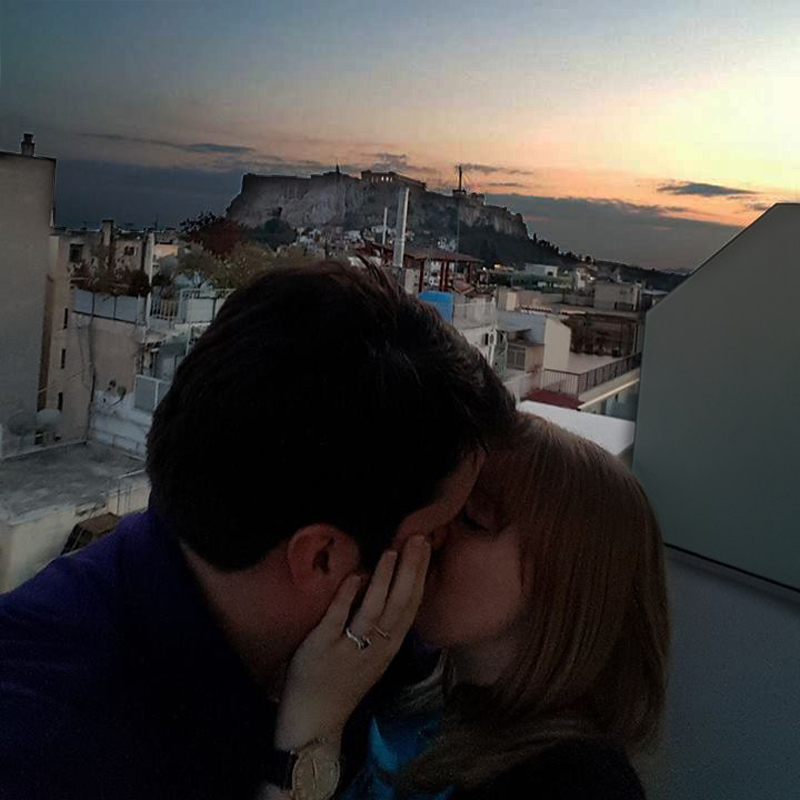 Jonathan and Rachel immediately after he proposed in Athens with his custom Carbuncle Engagement Ring by Takayas