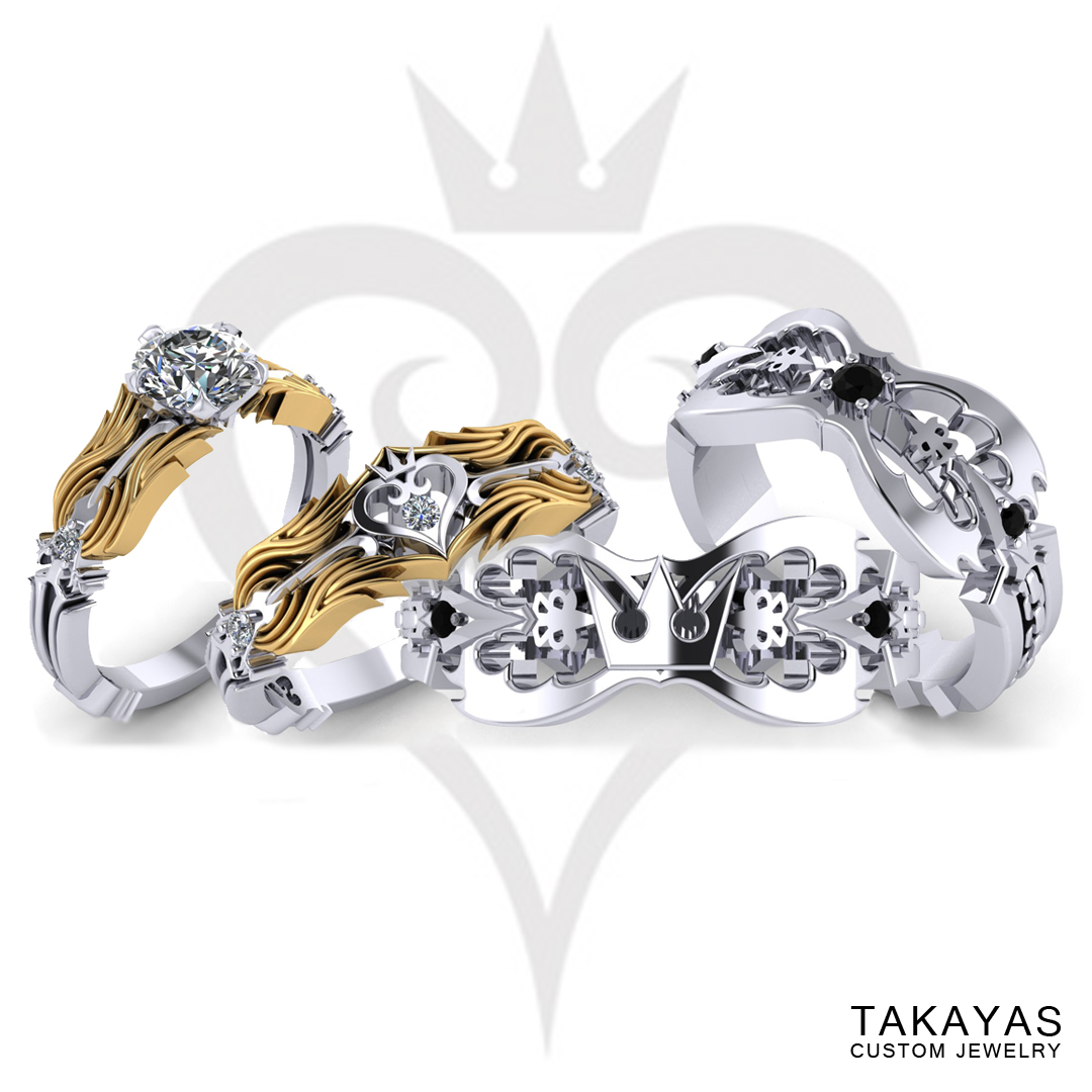 Kingdom Hearts inspired wedding ring collection by Takayas Custom Jewelry
