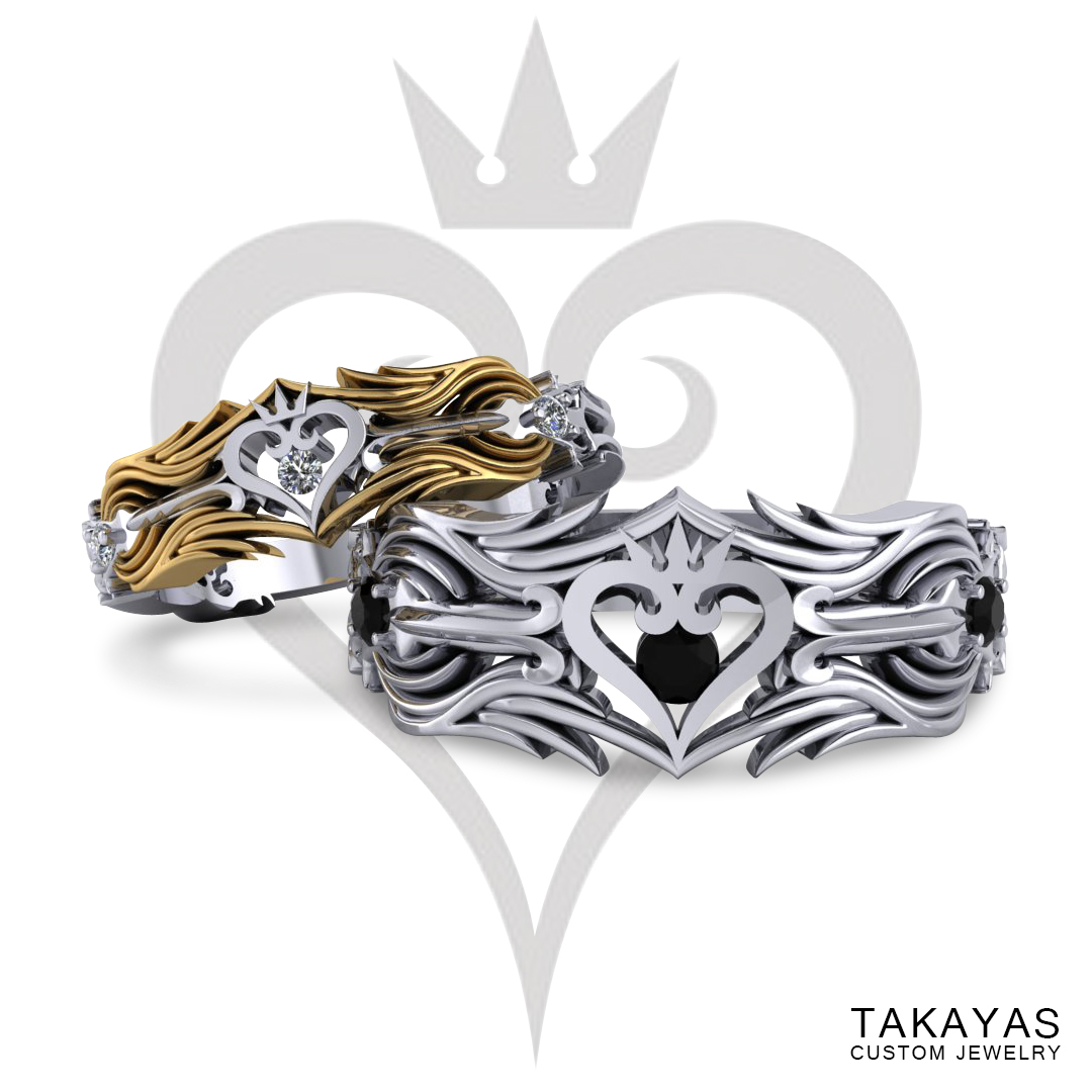 Kingdom Hearts Oathkeeper keyblade inspired wedding rings for men and women, designed by Takayas