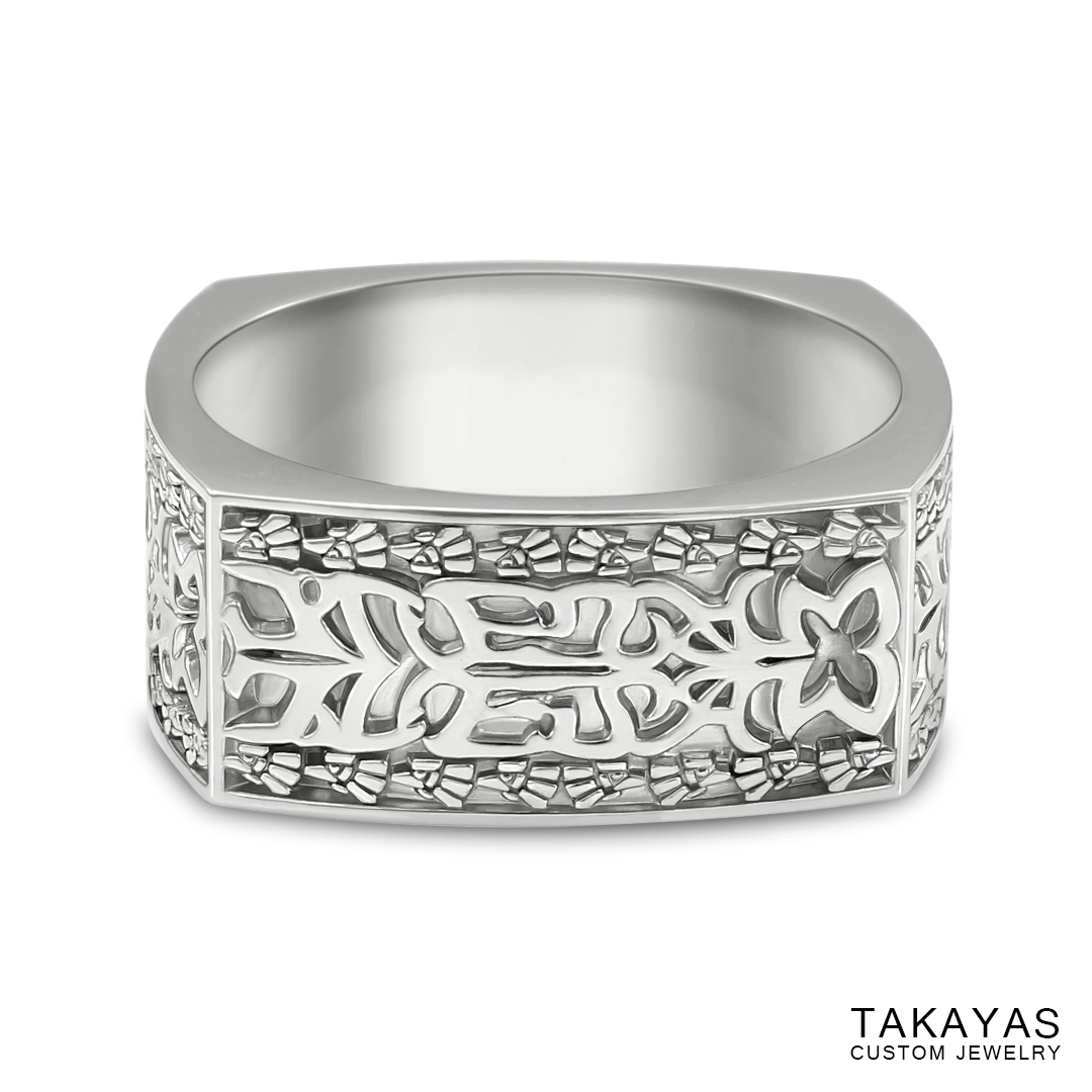Finished custom Aztec Initials Men's Wedding Ring by Takayas - front view