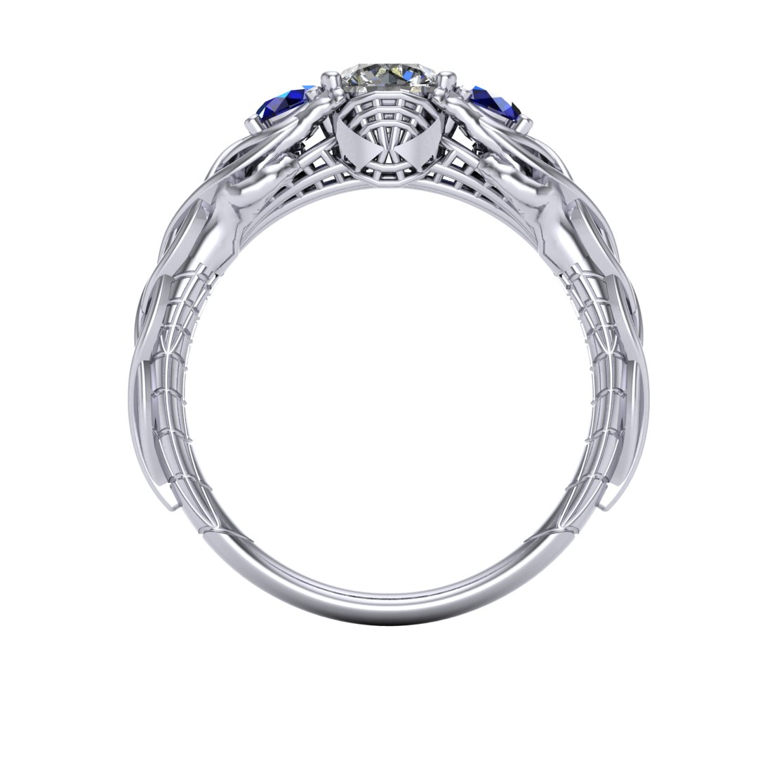 Celtic Spiderman engagement ring by Takayas - CAD rendered front view