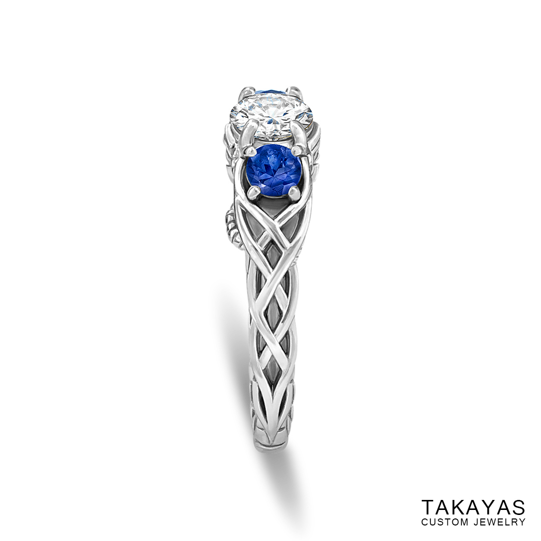 Celtic Spiderman engagement ring by Takayas - finished ring - side view