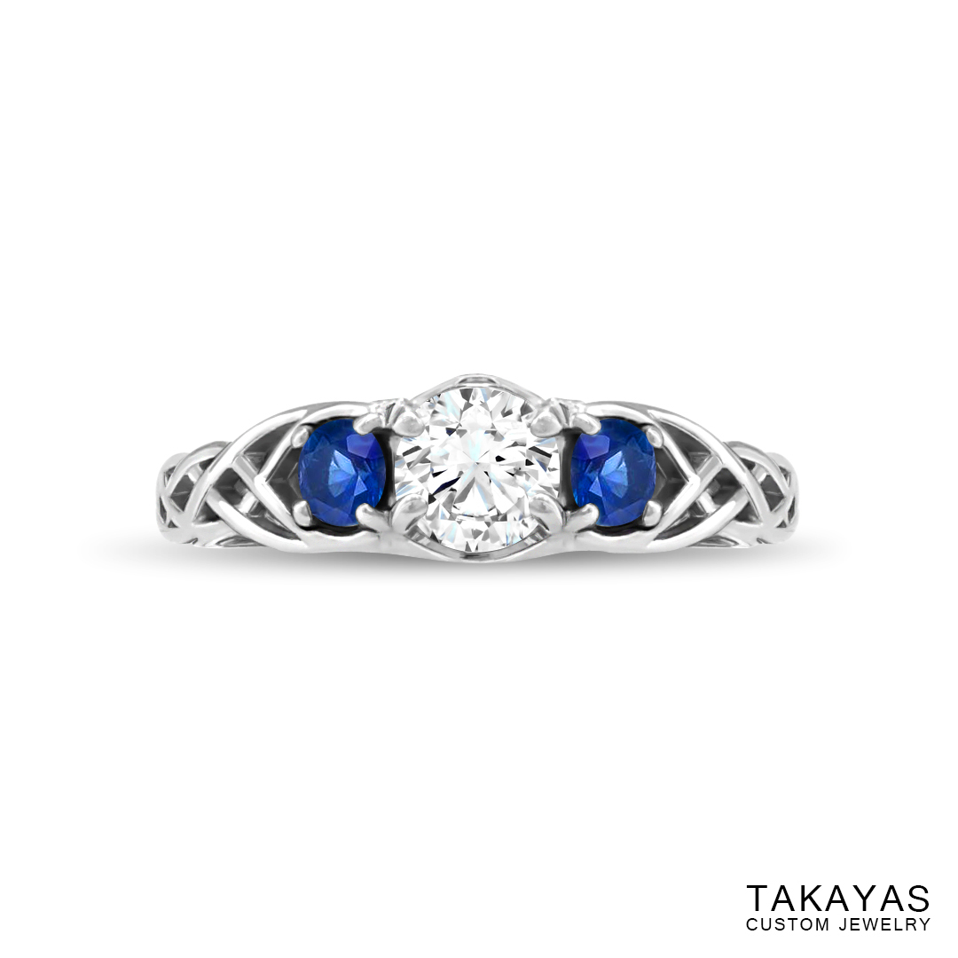 Celtic Spiderman engagement ring by Takayas - finished ring - top view
