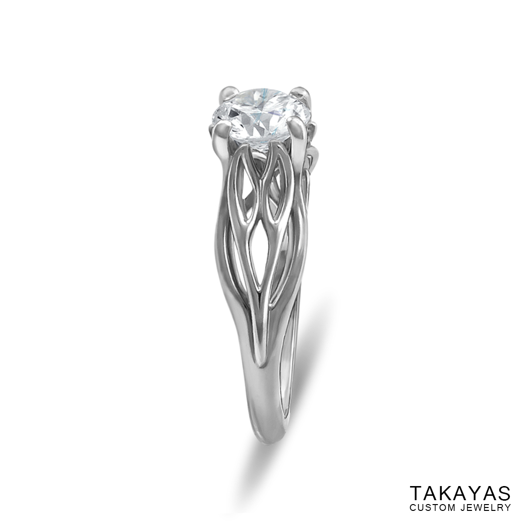 photograph of Joy's Ring solitaire engagement ring by Takayas - side view