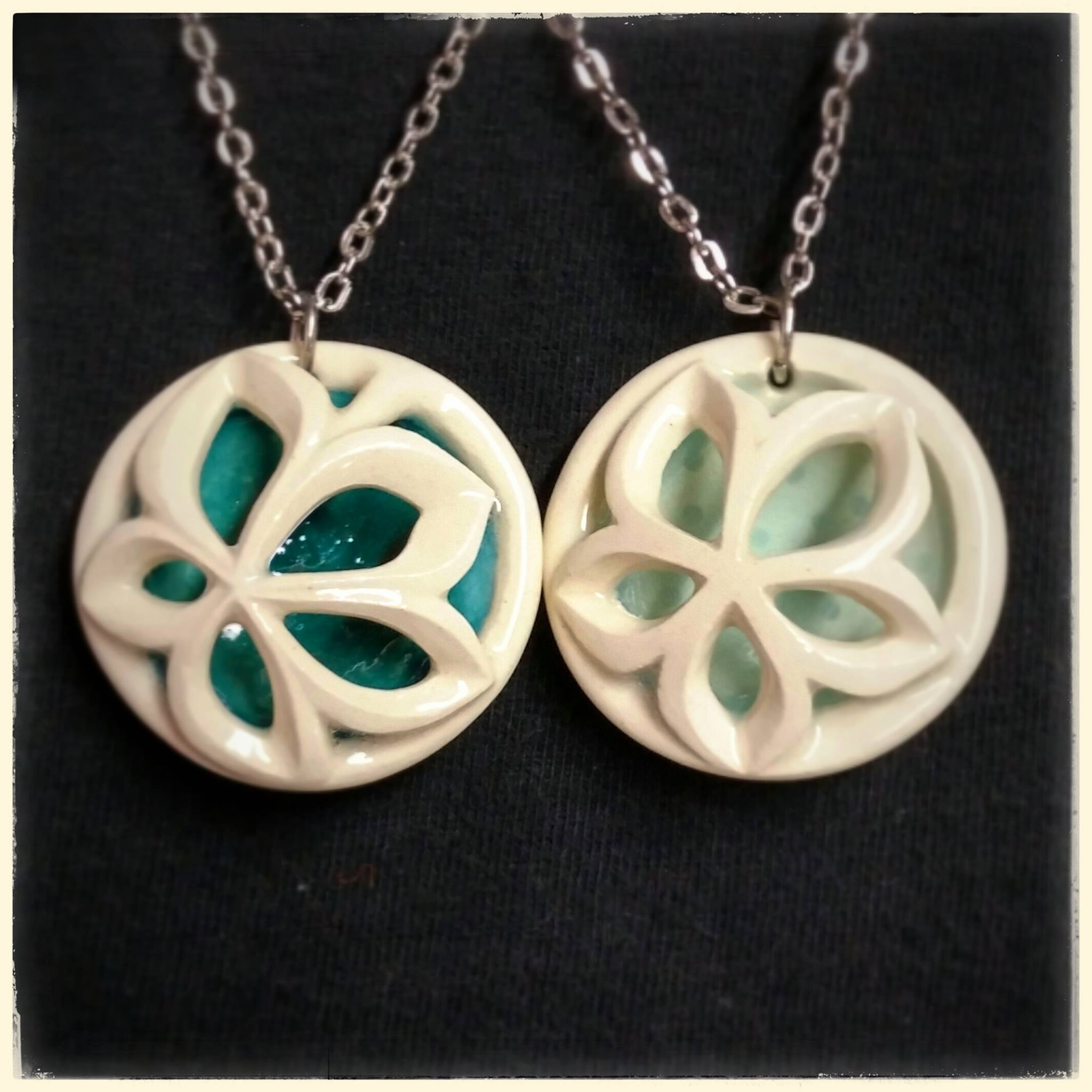 Joy's artwork: pottery necklaces, used as inspiration for her unique solitaire engagement ring by Takayas