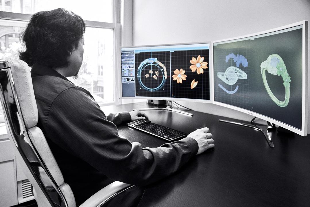 Takayas creating designs using CAD software - VoyageLA interview