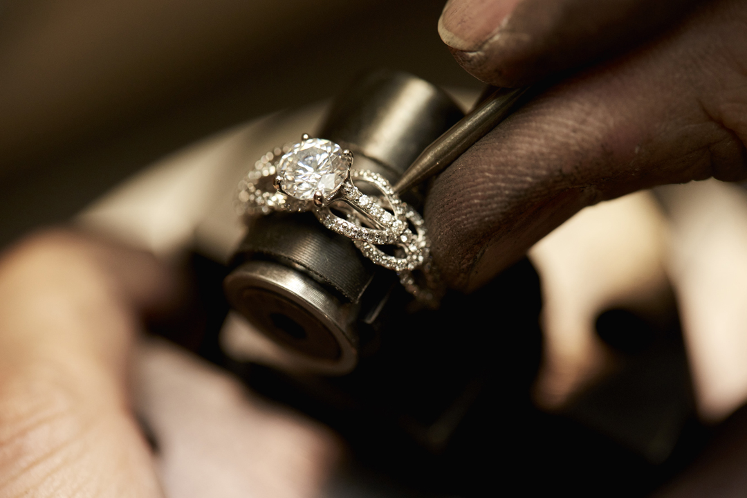Takayas setting pave diamonds in a ring - VoyageLA interview