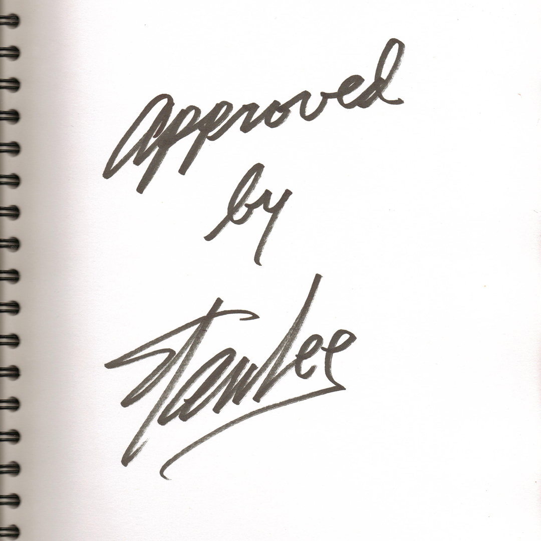 """Approved by Stan Lee"" signature, given to Justin and Christina upon their engagement"