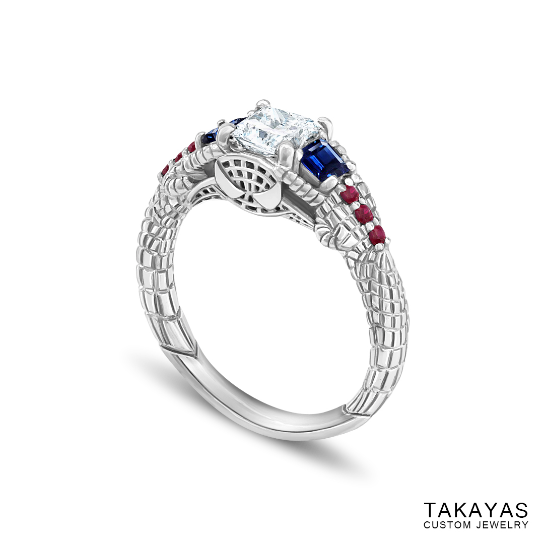 Gemmy Spider-Man engagement ring by Takayas - angled side view