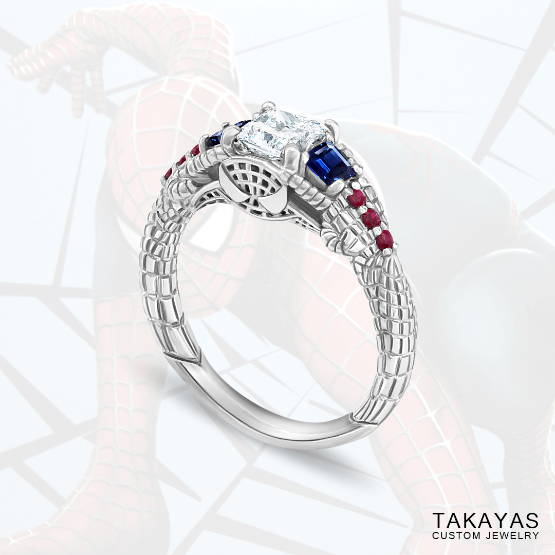 Gemmy Spider-Man engagement ring by Takayas - main image