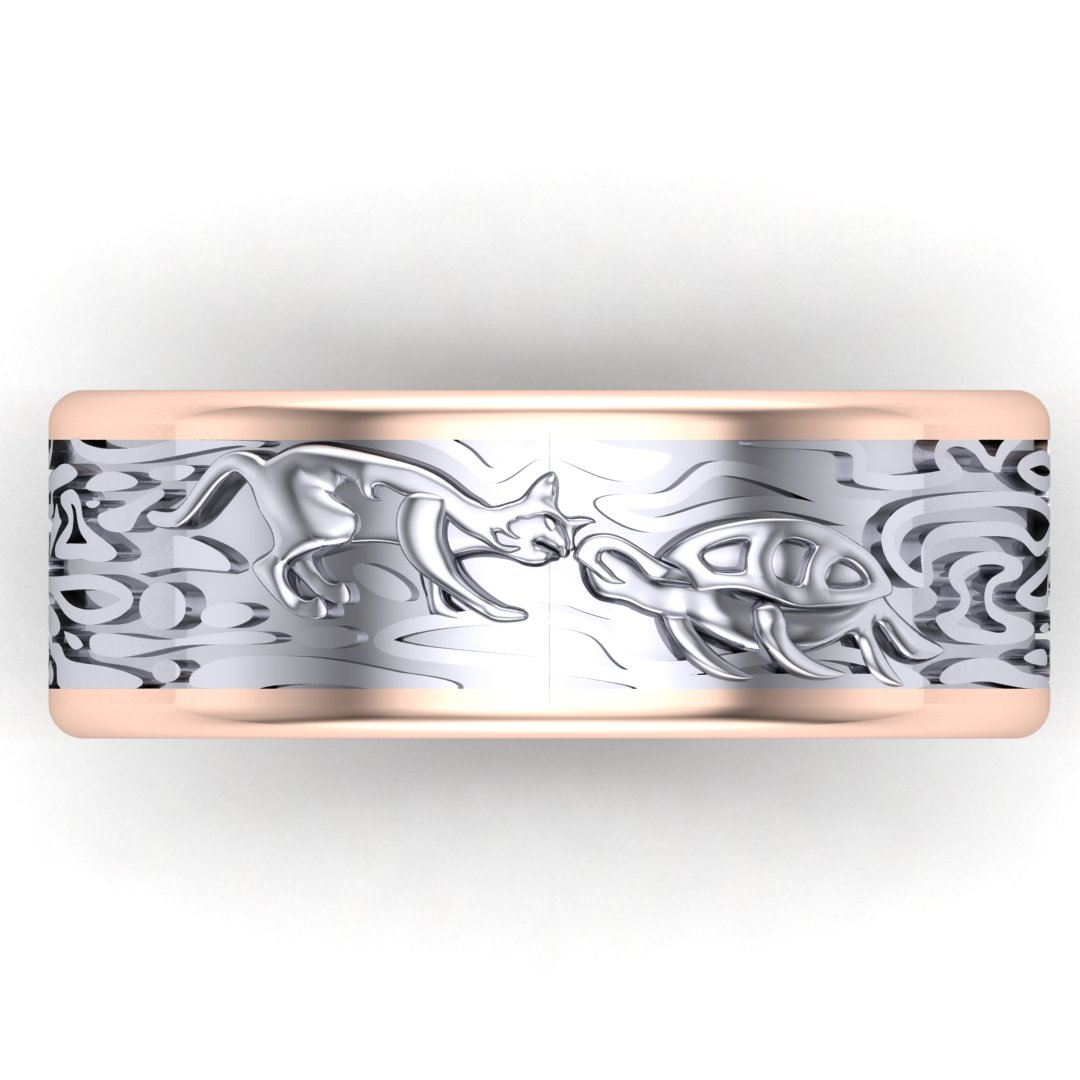 CAD rendering of custom men's wedding band with a cat and turtle kissing and organic patterns, by Takayas Custom Jewelry