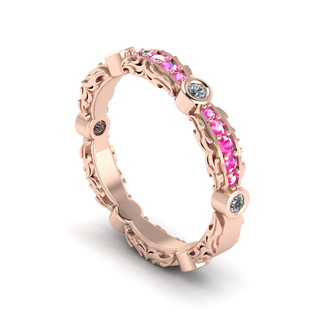 CAD rendering of ladies' custom baroque pattern inspired wedding band with pink sapphires and diamonds, by Takayas Custom Jewelry