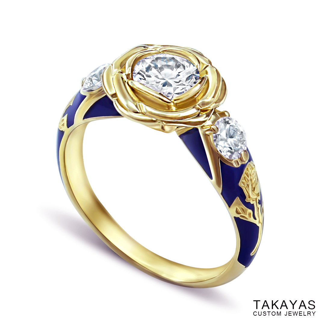 photograph of finished Beauty and the Beast engagment ring by Takayas Custom Jewlery - perspective view