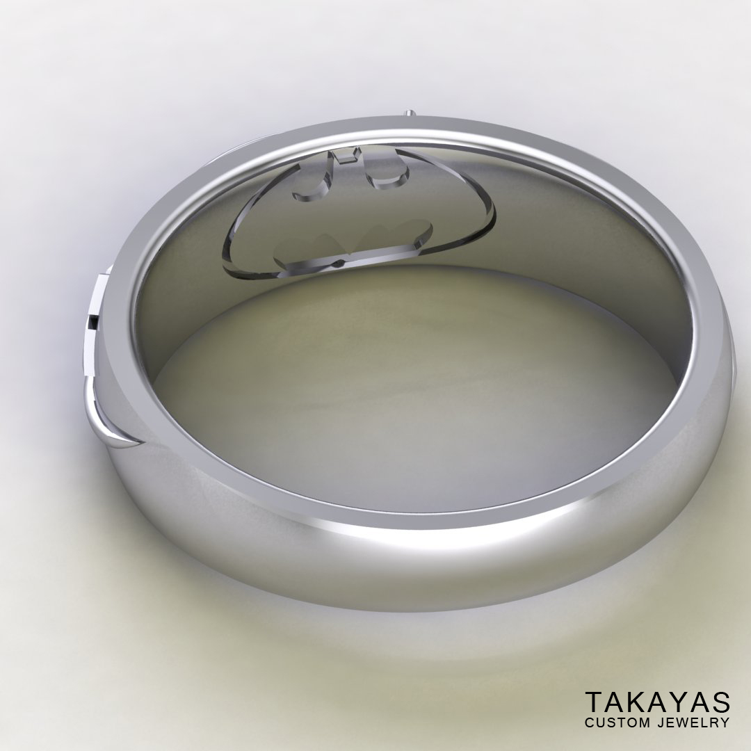 CAD rendering of Black Mage Final Fantasy wedding ring designed by Takayas - inside view showing hidden Batman symbol