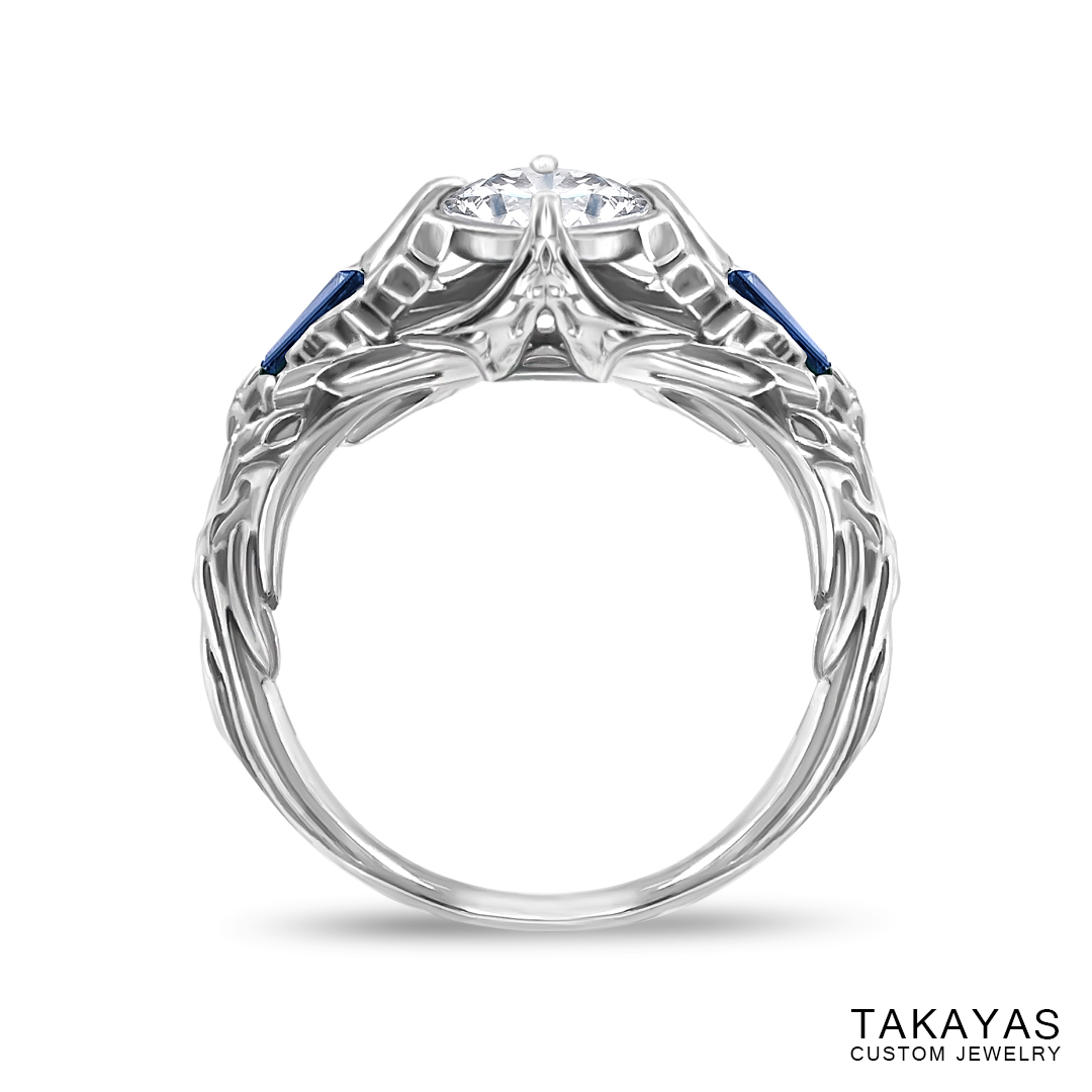 Photograph of finished FFXIV Scholar inspired ring by Takayas Custom Jewelry - front view