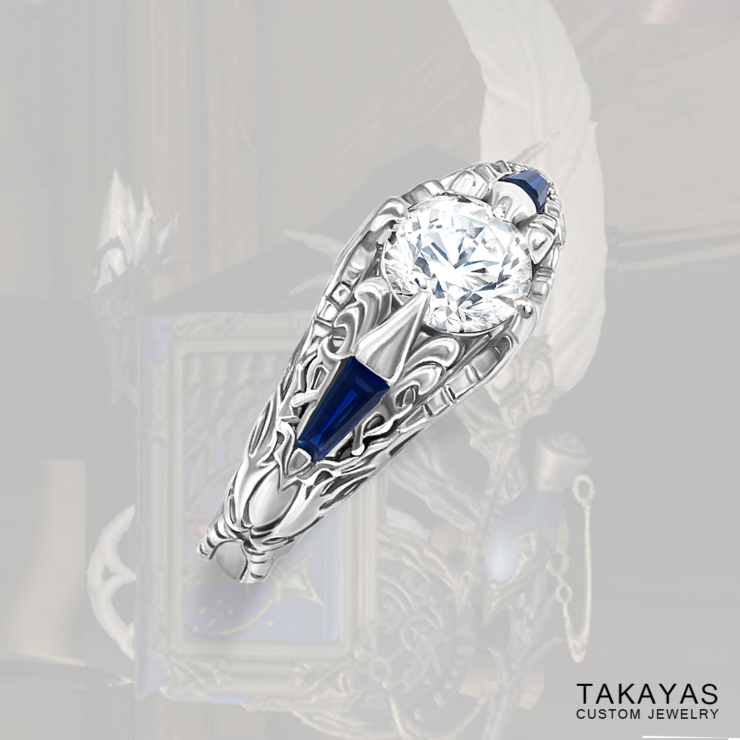 Final Fantasy XIV Scholar inspired engagement ring by Takayas Custom Jewelry - main image