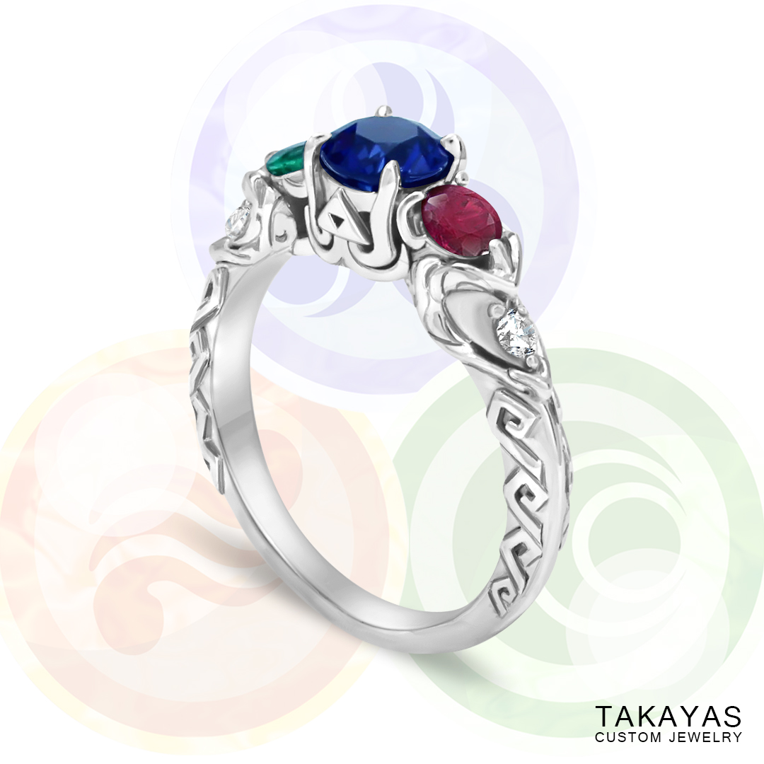Zelda Wind Waker inspired engagement ring by Takayas - main image with goddess pearl background