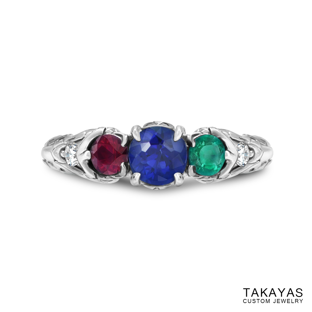 photograph of Zelda Wind Waker inspired engagement ring - top view