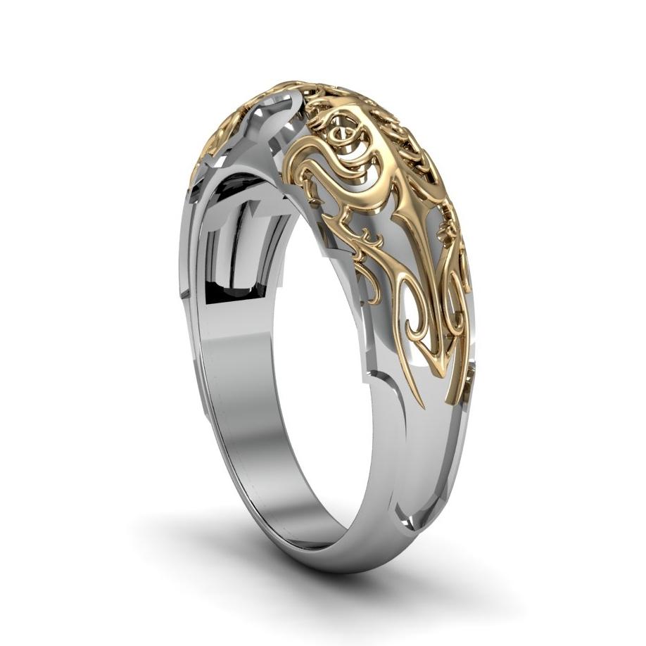 Custom Final Fantasy Lightning's Gunblade inspired men's wedding band, made in 14K white and yellow gold
