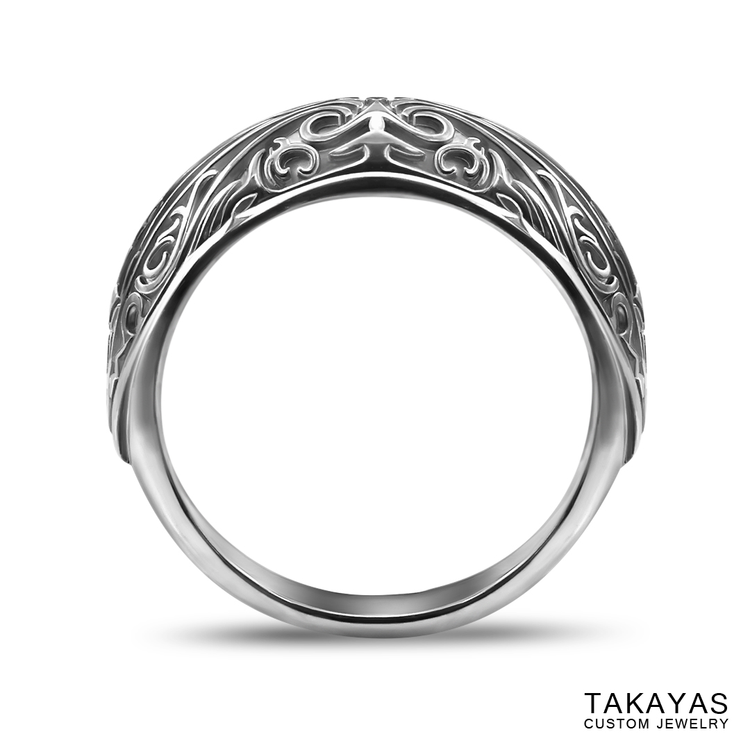 photograph of finished ring – front view