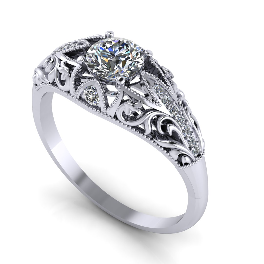Custom fleur de lis engagement ring in platinum with a0.50 ct round diamond center stone, milgrain details and 0.20 ctw accent diamonds