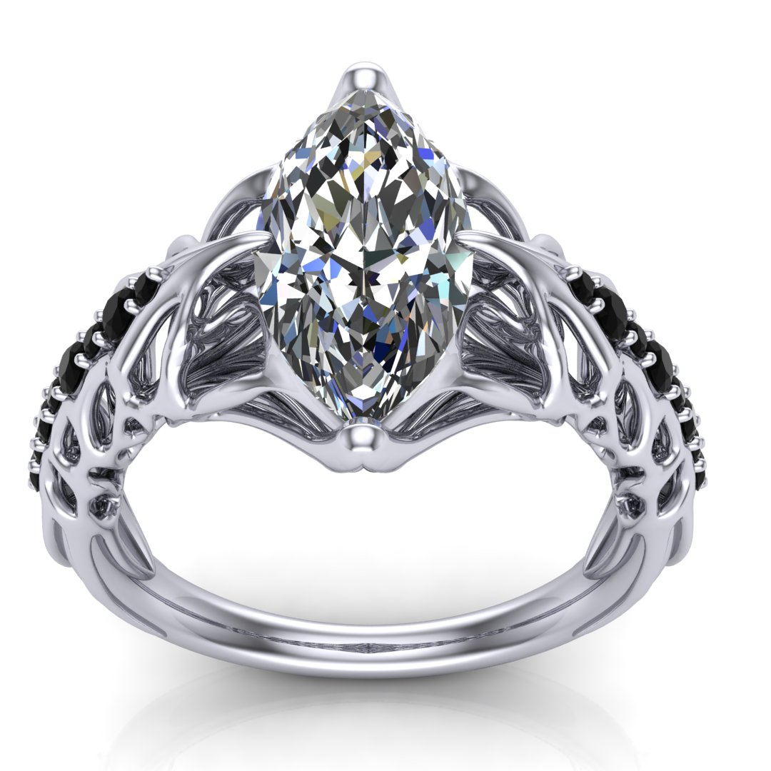 Custom HR Giger Swans inspired engagement ring in platinum with a 2.00 ct marquise diamond center stone and 0.20 ctw black accent diamonds