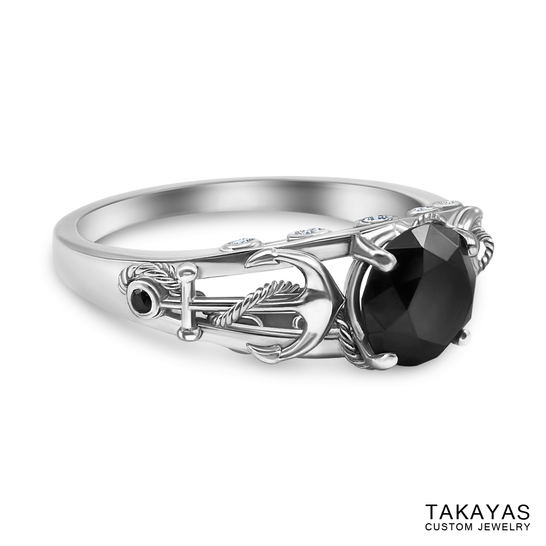 photograph of finished ring – side view