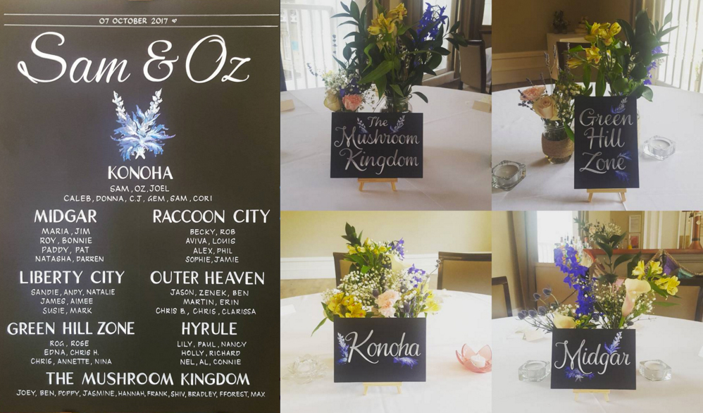 Sam & Oz's seating chart and table decorations, with sign artwork by Hannah Matthews of http://www.signwritingbyhannah.com/ (Hannah's artwork was also used as the background for this blog post's main image)